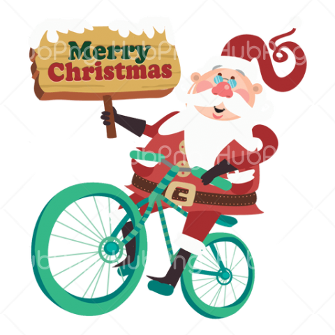 bicycle christmas santa claus png Transparent Background Image for Free