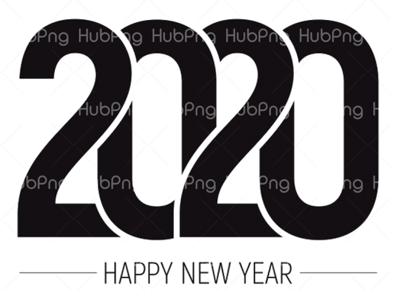 black color Happy New Year 2020 PNG Pic Transparent Background Image for Free