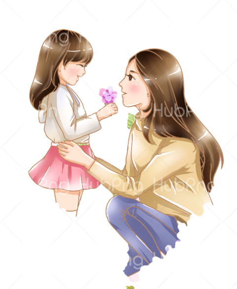 cartoon Happy Mother's Day Transparent Background Image for Free