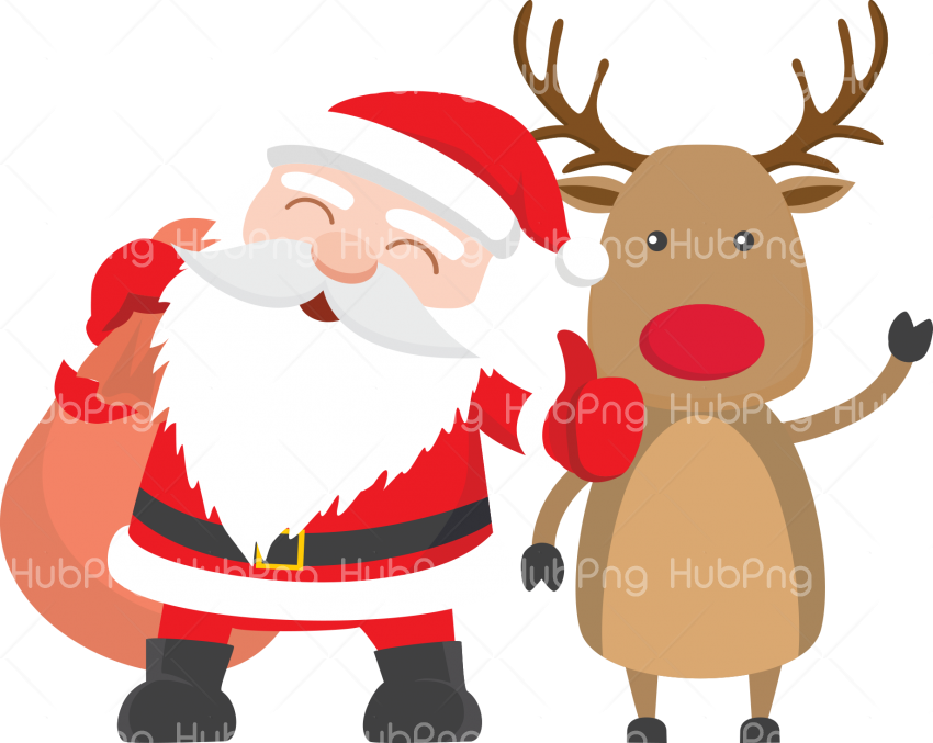 christmas deer with santa claus png Transparent Background Image for Free