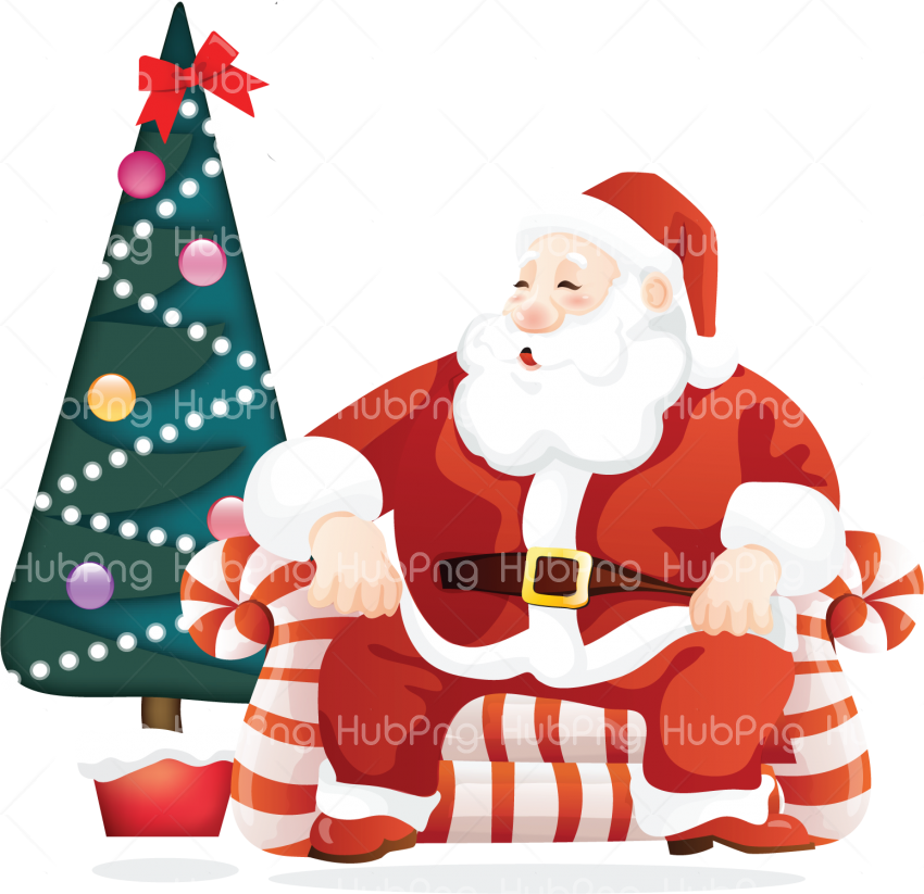 Download christmas tree santa claus png clipart Transparent Background Image for Free