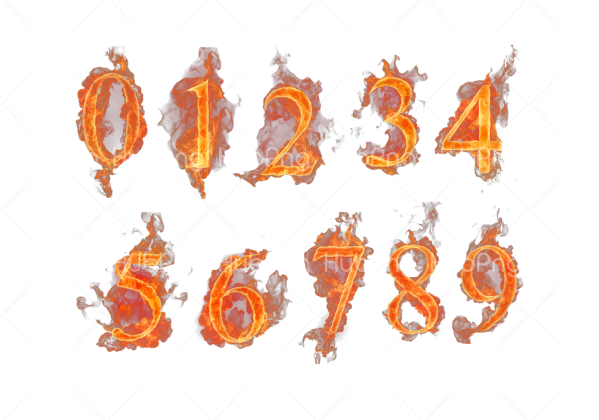 flame png numbers Transparent Background Image for Free