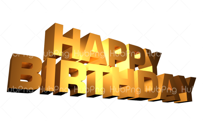 happy birthday png gold Transparent Background Image for Free