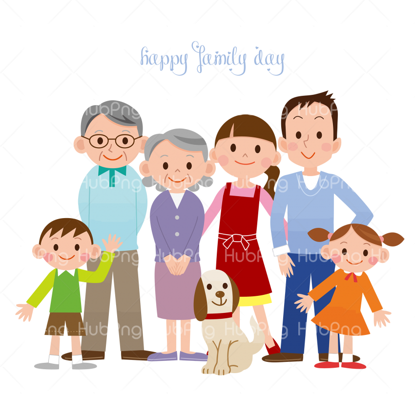 happy family day png hd cartoon Transparent Background Image for Free