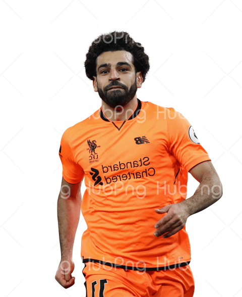 mo salah png orange liverpool t-shirt Transparent Background Image for Free