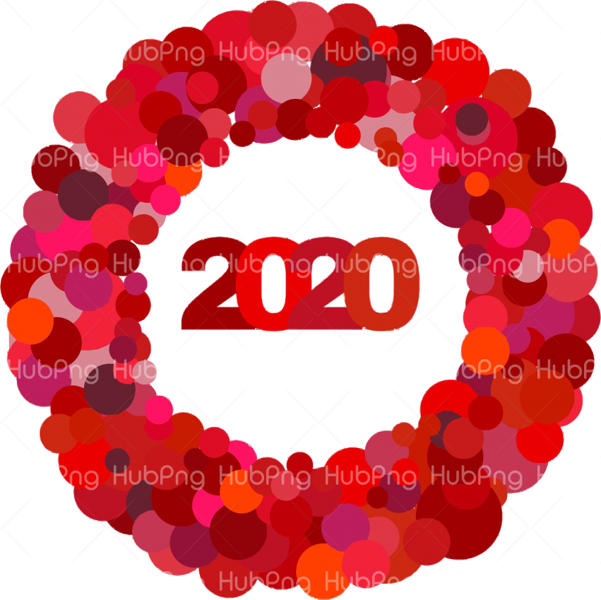 new year 2020 png red circle heart clipart Transparent Background Image for Free