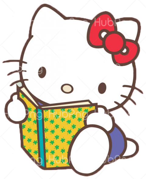 reading hello kitty png Transparent Background Image for Free