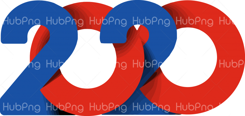 red and blue happy new year 2020 png  pic Transparent Background Image for Free