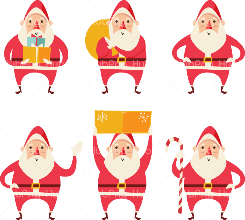 santa cartoon collection png cute santa Transparent Background Image for Free