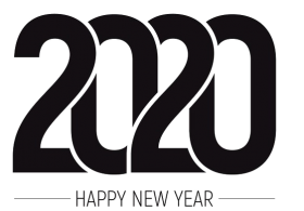 black color Happy New Year 2020 PNG Pic